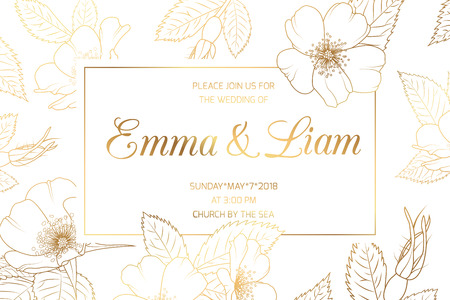 Illustration pour Wedding mariage event invitation card template. Border frame with wild rose rosa canina cherry sakura flowers bloom blossom. Luxury shiny golden style. Title text placeholder. Save the date RSVP. - image libre de droit
