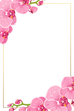 Illustration pour Pink purple bright exotic orchid phalaenopsis flowers. Shiny golden vertical portrait border frame template with decorated corners. Vector design element for invitation greeting card. - image libre de droit