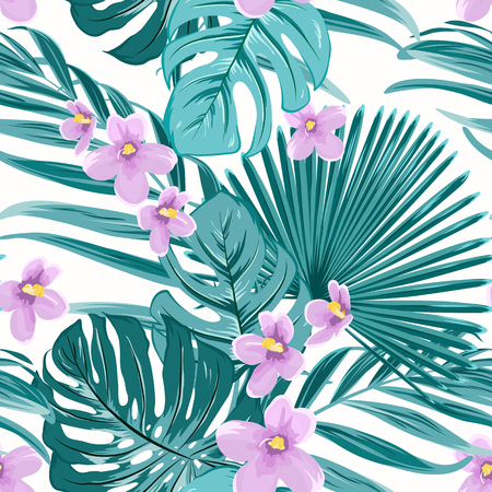 Ilustración de Exotic tropical floral greenery seamless pattern texture. Green jungle palm tree mostera coconut leaves. Violet purple flowers. Vector design illustration for fashion, textile, fabric, wrapping. - Imagen libre de derechos