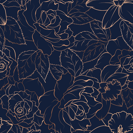 Illustration pour Floral spring seamless pattern. Rose peony daffodil narcissus bloom blossom leaves. Copper gold shiny outline navy dark blue background. Vector illustration for fashion, textile, fabric, decoration. - image libre de droit