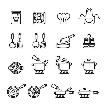 Vektor für A cooking, kitchen tools and utensils icons set. Line Style stock vector. - Lizenzfreies Bild