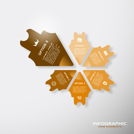 Vector infographic brown web element of arrows with text and icons on the gradient gray background.