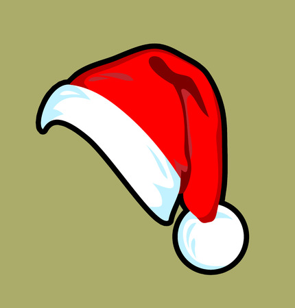 Illustration for Beautiful girl in a Santa Claus hat - Royalty Free Image