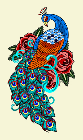 Illustration for Peacock and roses, old school tattoo image. - Royalty Free Image