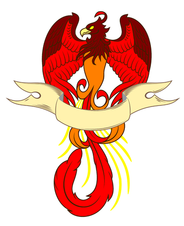 Phoenix rose from the flames and banner