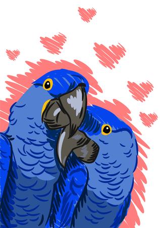 Illustration pour A pair of macaw parrot lovers, flat picture - image libre de droit
