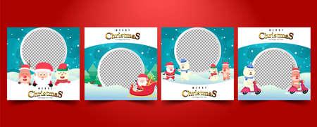 Illustration pour Set Social media post,Christmas sale, greeting card template vector. - image libre de droit