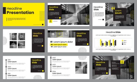 Illustration pour Yellow and white presentation template. Infographic template vector. Use for slide presentation, brochure, flyer, banner, marketing, advertising, pitch deck, corporate or annual report. - image libre de droit