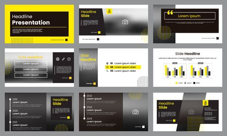 Illustration pour Yellow and white presentation template. Infographic template vector. Can use for presentation slide layout, leaflet, flyer, brochure, report, marketing, advertising, banner, etc. - image libre de droit