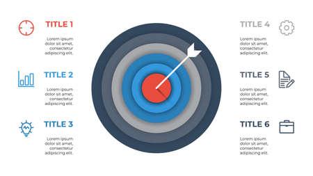 Illustration pour infographic element layout template with target and arrow concept design, 6 points, options, processes, list, diagram, chart. - image libre de droit