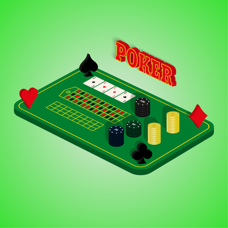 Casino set on a green background. Game table with a combination of cards, chips, money