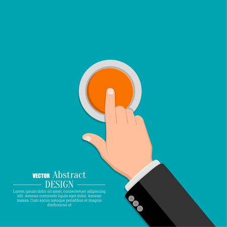 The hand in a suit presses the button. A vector illustration in flat style.