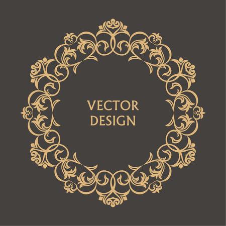 Ilustración de Circular baroque pattern. Round floral ornament. Vintage frame. Greeting card. Wedding invitation. Retro style. Vector logo template, labels and badges - Imagen libre de derechos