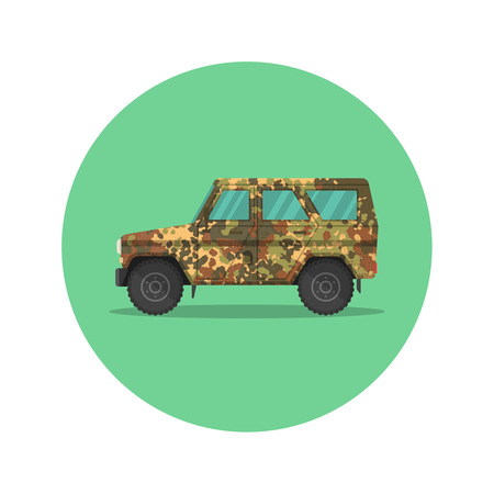 Car icon jeep. The army SUV with a camouflage covering of khaki. The vehicle of the increased passability for travel, active recreation, hunting, a safari and the hard purposes. A vector illustration in flat style.