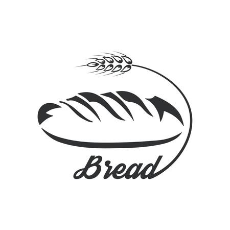 Illustration pour Icon bread.Monochrome logo.Fresh product. A vector illustration in flat style. - image libre de droit