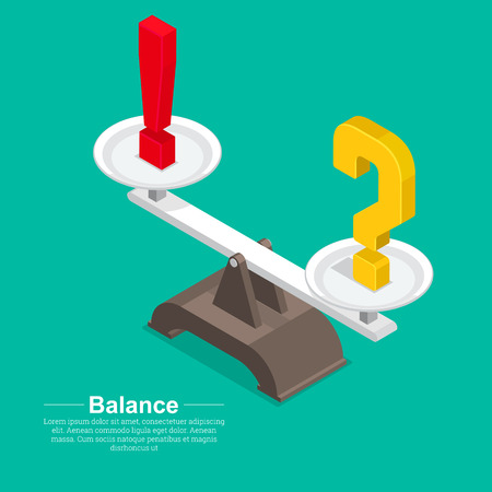 Question mark and exclamatory on a bowl of scales.Concept of balance of mind and emotions.Solution and restraint of acts.Vector illustration in flat style.Isometry.3D.
