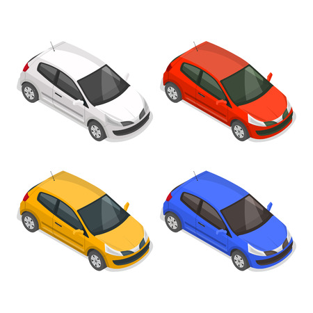Photo pour Set of passenger multi-colored cars on the isolated white background.3D. Isometry.Elements for design. Vector illustration. - image libre de droit