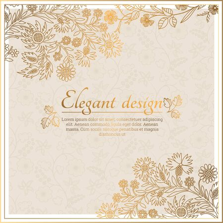 Illustration pour Baroque ornate frame with place for text. Stylish invitation card. Elegant greeting card. Vector element of graphic design - image libre de droit