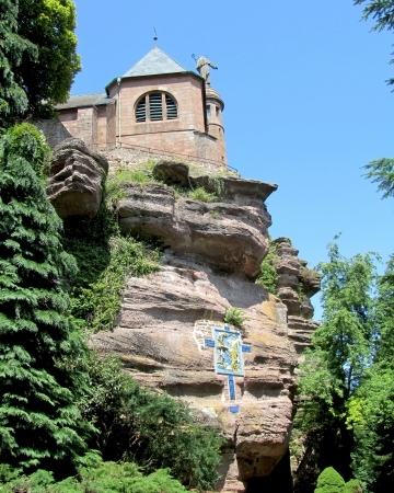 The beautiful Hohenburg Abbey, of Mont Sainte-Odile, which is built on a rocky outcrop atop a 760m peak, in the area of Bas-Rhin, Alsace, France  It is now a huge tourist attraction for the area