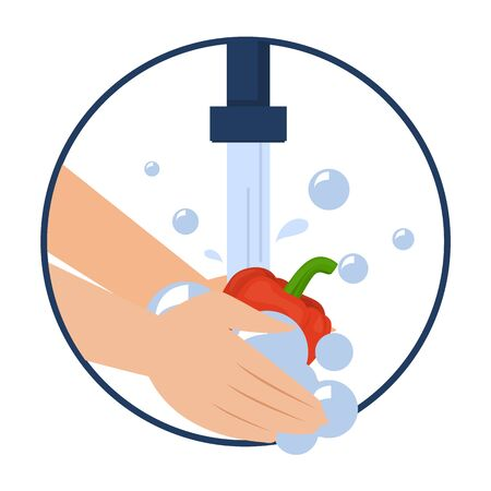 Illustration pour Hand washing bell pepper vector isolated. Wash fruits and vegetables before eating concept. Healthy lifestyle tips. Clean vegetable in water and soap. - image libre de droit