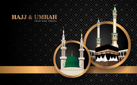 Illustration pour hajj and umrah banner concept with luxury design and mosque - image libre de droit