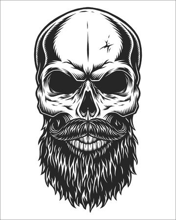 Illustration pour Monochrome illustration of hipster skull with mustache and beard. Isolated on white background - image libre de droit