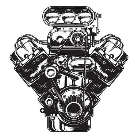 Illustration for Isolated illustration of car engine on white layout. - Royalty Free Image