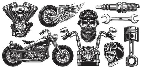 Illustration pour Set of monochrome motorcycle elements. Isolated on white background - image libre de droit