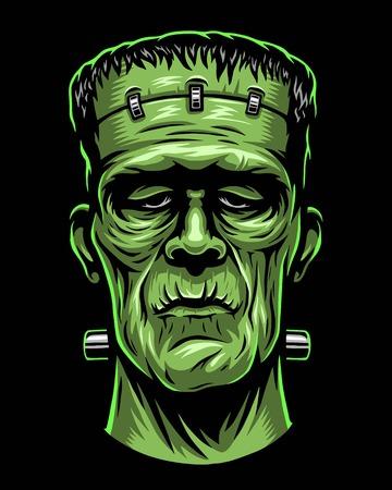 Illustration for Color illustration of Frankenstein head. - Royalty Free Image