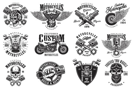 Illustration pour Set of vintage custom motorcycle emblems, labels, badges, logos, prints, templates. Layered, isolated on white background Easy rider - image libre de droit