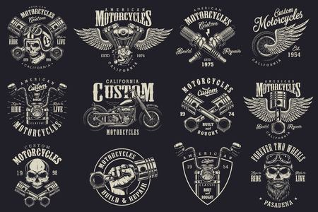 Illustration pour Set of vintage custom motorcycle emblems, labels, badges, logos, prints, templates. Layered, isolated on dark background Easy rider - image libre de droit