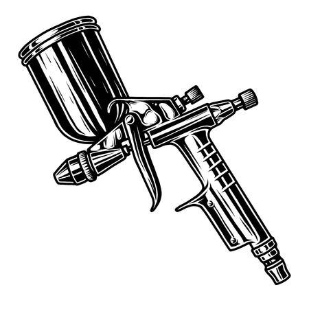 Illustration for Monochrome illustration of metal spray gun. Isolated on white background - Royalty Free Image