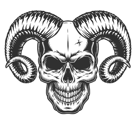Illustration for Skull with horns Vector illustration. - Royalty Free Image