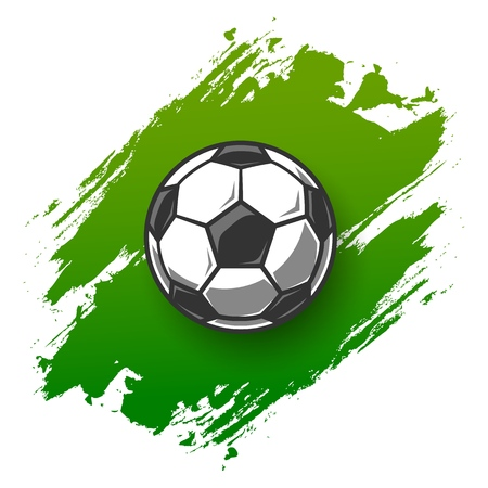 Soccer grunge background with ball. Vector illustration