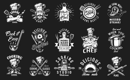 Illustration pour Set of cooking emblem on black background. Vector illustration. - image libre de droit