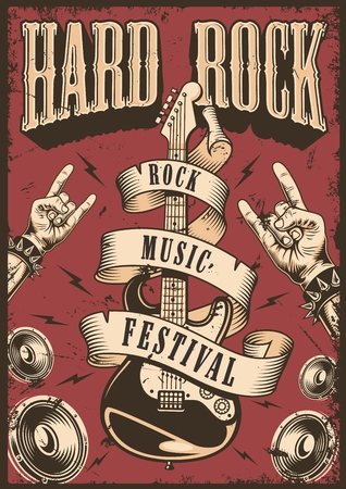 Illustration for Rock and roll poster emblem - Royalty Free Image