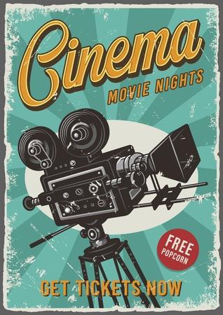 Illustration for Cinema vintage poster - Royalty Free Image
