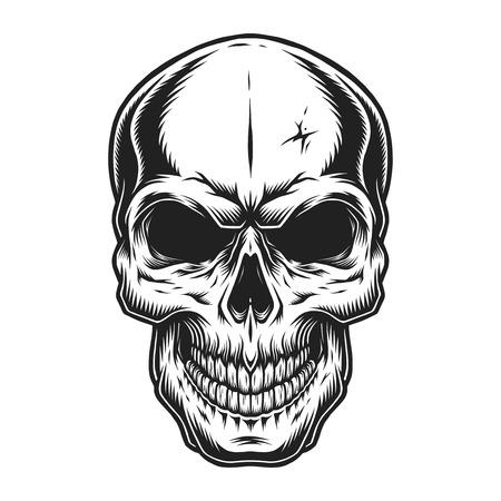 Illustration pour Vintage scary skull concept - image libre de droit