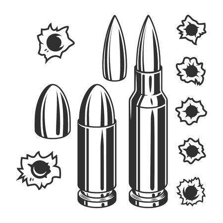 Vektor für Vintage bullets and bullet holes set - Lizenzfreies Bild