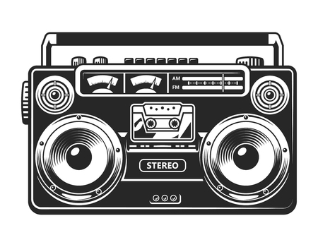 Illustration for Vintage tape recorder or boombox concept - Royalty Free Image