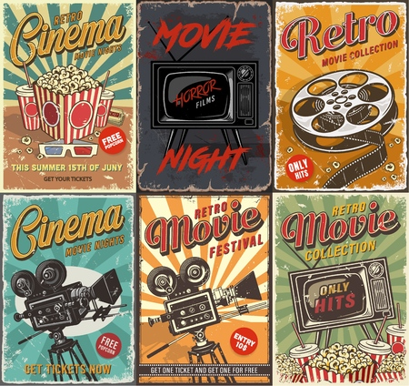 Illustration for Cinema set of posters - Royalty Free Image
