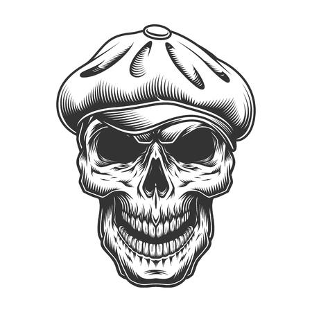 Illustration for Skull in the tweed hat. vector vintage illustration - Royalty Free Image