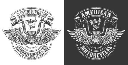 Illustration pour Biker emblem with wings and handle bar. Vector illustration - image libre de droit