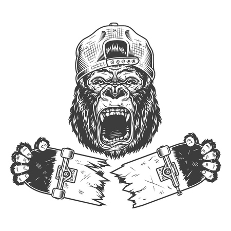 Illustration pour Angry gorilla cracked skateboard - image libre de droit