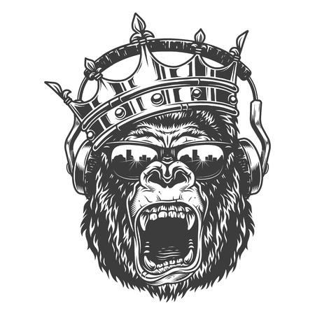 Illustration pour King gorila face - image libre de droit