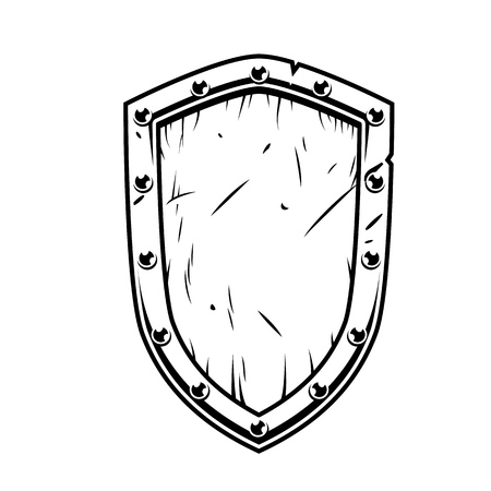 Illustration for Fantasy warrior wooden shield isolated on white in monochrome. Vector vintage illustration. - Royalty Free Image