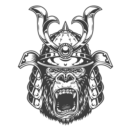 Illustration pour Vintage serious gorilla warrior in samurai helmet in monochrome style isolated vector illustration - image libre de droit