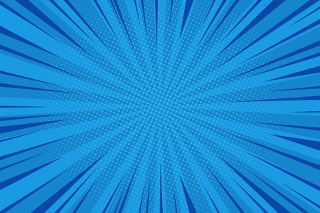 Illustration pour Comic abstract blue background with radial rays and halftone humor effects vector illustration - image libre de droit