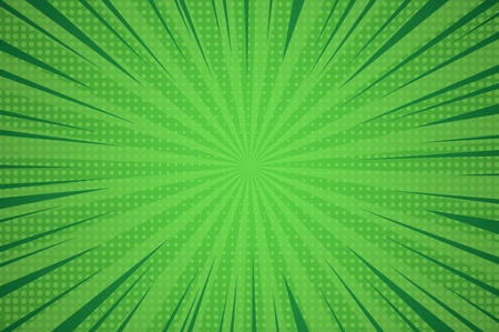 Illustration pour Comic dynamic green background with radial beams and dotted humor effects vector illustration - image libre de droit