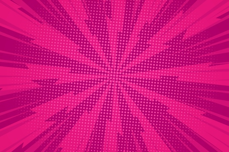 Illustration pour Comic dynamic pink background with radial lightnings rays and light halftone effects vector illustration - image libre de droit